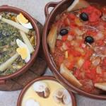 [ナバラの料理]野菜のメネストラ、仔羊のチリンドロン、カスタードデザート。