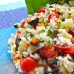 夏野菜たっぷり。さっぱりお米のサラダ
